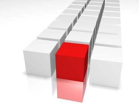 赤と白の背景に白の 3 D キューブ