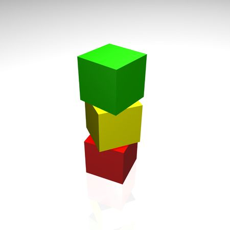 3d illustration - colored cubes yellow, red green color on a white background Stock Photo