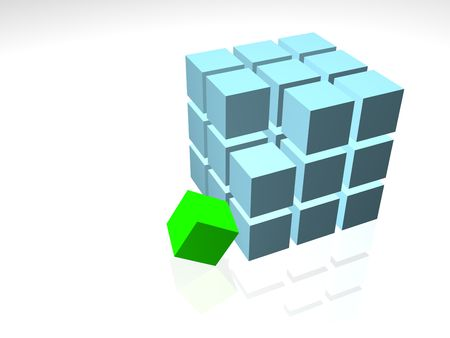 Individuality green cube on the white background Stock Photo
