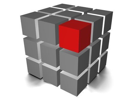 individuality: Individuality red cube on the white backround