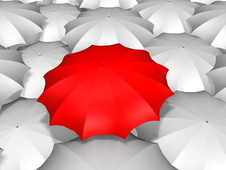 3 d イラスト - 白いパラソル、赤い