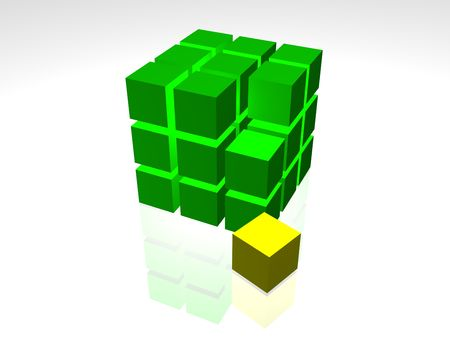 One individuality green cube on the white background Stock Photo - 3583337