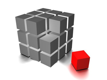 One individuality red cube on the white backround Stock Photo - 3583346