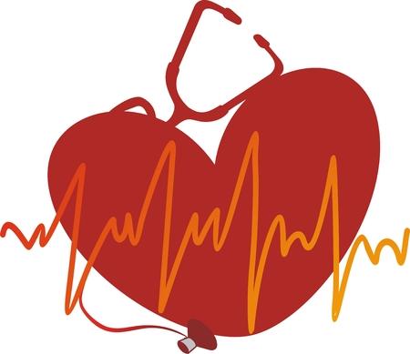 Le cardiogramme jaune contre coeur rouge Vecteurs