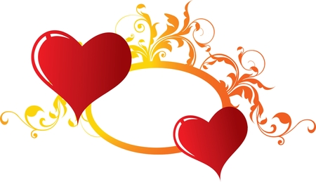 Two enamoured hearts Vector