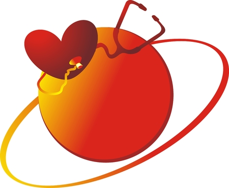 Heart and the medical tool against a red circle Stock Vector - 4022189