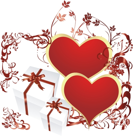 Red hearts with gift boxes and a vegetative ornament