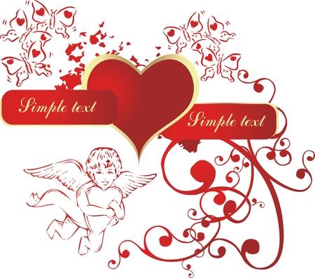 キューピッドと蝶の環境で赤いハート  イラスト・ベクター素材