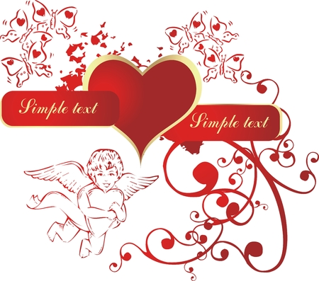 Red heart in an environment of the cupid and butterflies