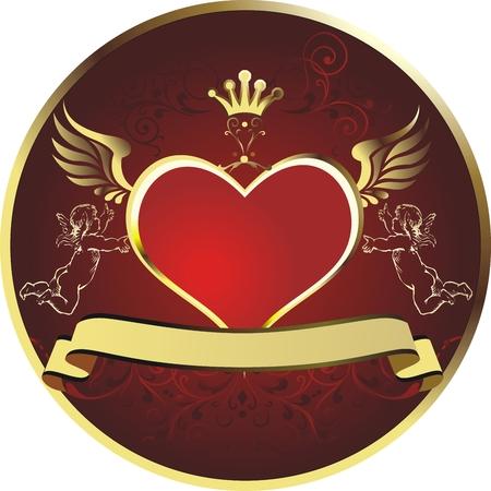 それぞれの側に天使が付いている王冠をトッピング ゴールド フレームで赤いハート  イラスト・ベクター素材