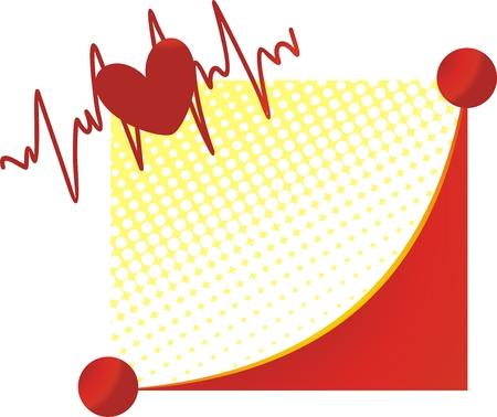 Coeur contre le cardiogramme et le sourire stylisée