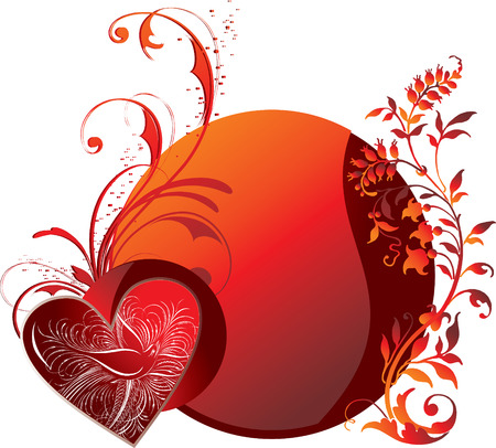 Red heart against a vegetative ornament and a circle with the stylised bird inside Vector