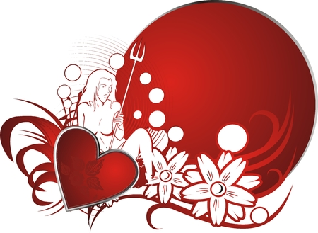 Red heart against a vegetative ornament of the young girl and a circle for the text