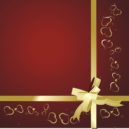Many small hearts on a red background tied up by a gold tape with a bow Vector