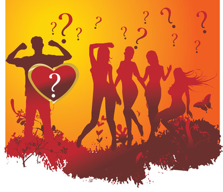 Heart against silhouettes of dancing women and the man in an environment of a vegetative ornament Illustration