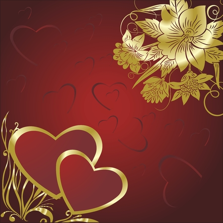 Two hearts on a red background with gold colours Vector