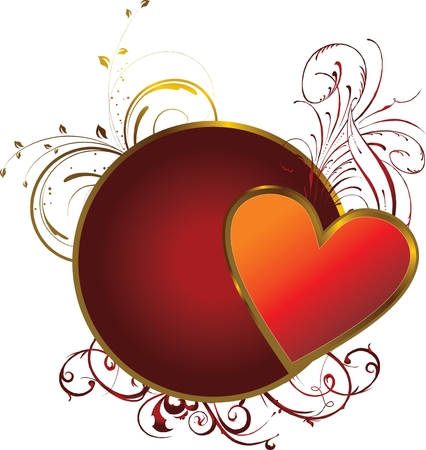 red heart in a gold frame on a background a vegetable decorative pattern