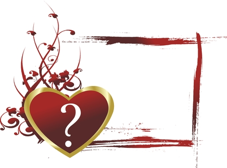 Red heart with a question mark against a vegetative ornament and a framework for the text in the form of brush dabs Vector