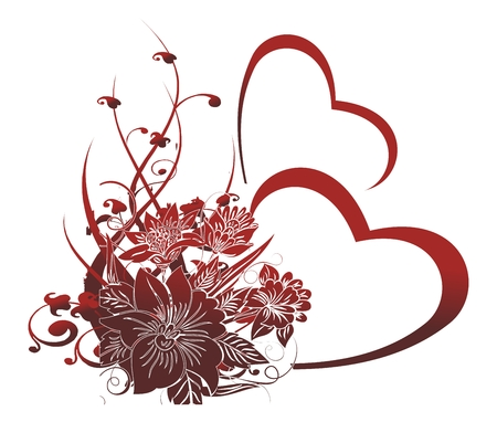 Two red hearts on a white background with an ornament