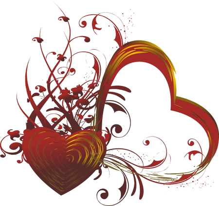 Red silhouette of heart with a vegetative ornament