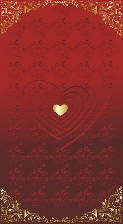 ornated: Red sagome dei cuori con un cuore d'oro nel centro ornata sul fondo
