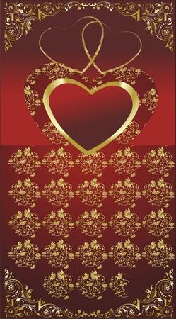 金の装飾と赤い背景の上の心