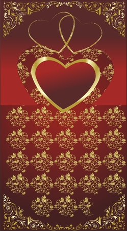 Heart on a red background with a gold ornament