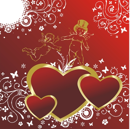 Three hearts on a red background with an ornament and two cupids