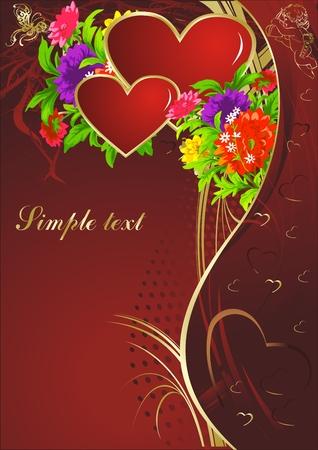 蝶と鮮やかな色と飾りに対してキューピッドと 2 つの赤いハート