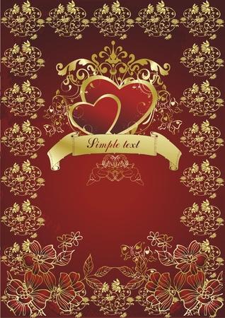 2 つの赤い心をキューピッドと生長の飾り