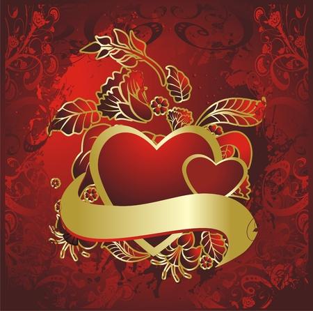色と飾りに対して金のフレームで 2 つの赤いハート