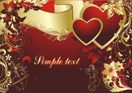 amor: Paar von Herzen auf rotem Hintergrund in einem Umfeld einer vegetativen Ornament und Putten