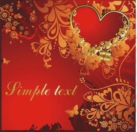 赤いハート飾りと蝶  イラスト・ベクター素材