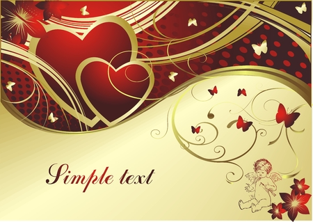 Pair of red hearts with butterflies, the cupid and the block for the text Illustration