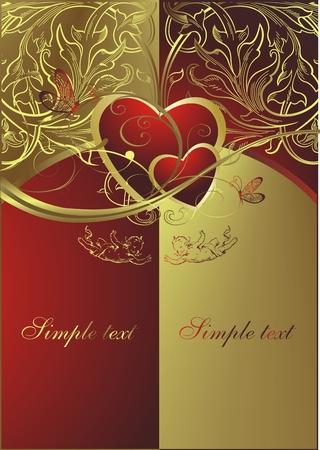 天使と蝶の環境でゴールドと赤の背景に心
