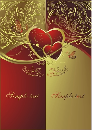 Hearts on a gold and red background in an environment of angels and butterflies