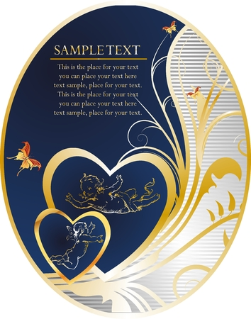 Hearts with cupids, butterflies, the block for the text and horizontal lines on a dark blue background