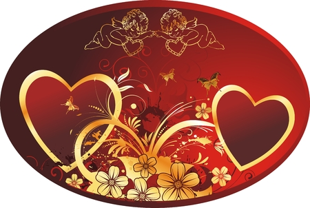 Two hearts in an oval framework with cupids, butterflies and colours on a red background Illustration