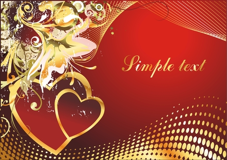 Two hearts on a red background with a geometrical ornament Vector