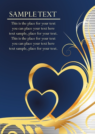 Pair of hearts on a dark blue background with an ornament simulating gold and the block for the text Illustration