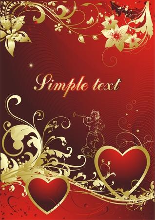 2 つの愛する心をキューピッドと赤の背景色  イラスト・ベクター素材