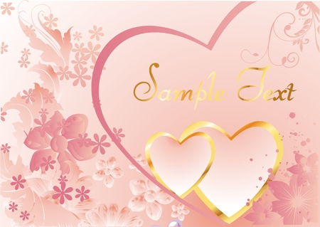 two pink heart in a gold frame on a background colors with space for text