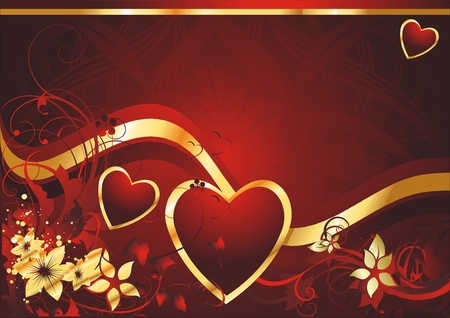 Heart with colours and an ornament on a red background