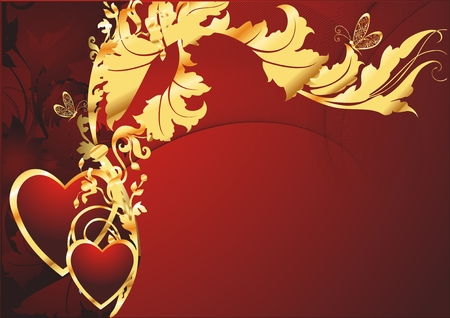 Pair of enamoured hearts with a geometrical and vegetative ornament on a red background