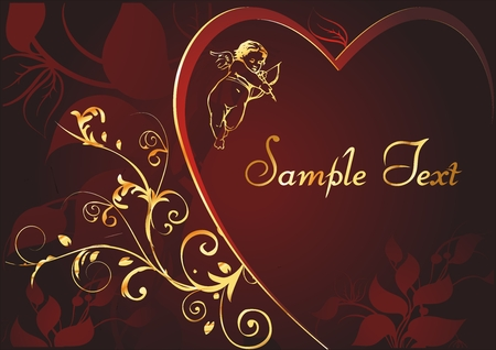inwardly: silhouette of heart with a block for text and cupid inwardly on a background a vegetable decorative pattern