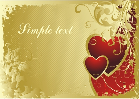 Pair of hearts on a gold background with a vegetative ornament