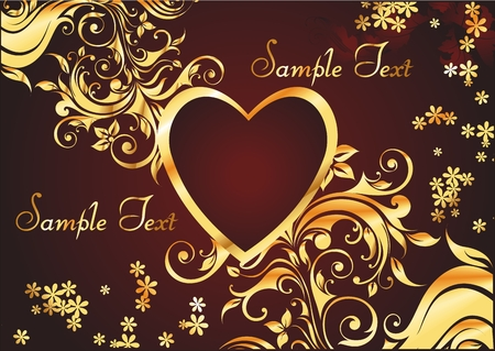 heart in a gold frame with a gold decorative pattern on a red background with two spaces for text Vector