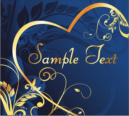 野菜の装飾的なパターンと暗い青色の背景で中心の金のシルエット  イラスト・ベクター素材