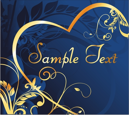 gold silhouette of heart on a dark blue background with a vegetable decorative pattern
