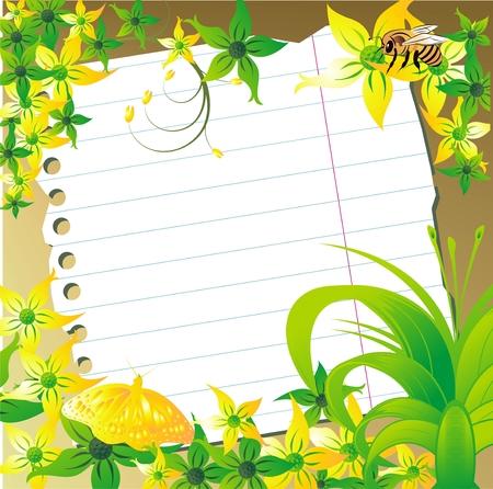 蝶と蜂の植物飾りに対してノートの紙のシート